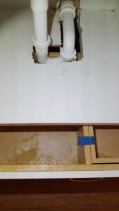 Drain blocks drawer from opening