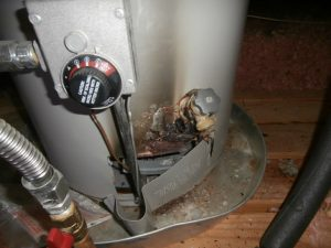 Water heater caught fire