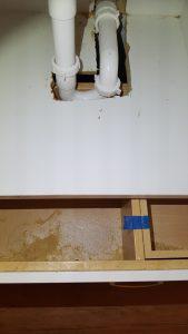 Drain blocks drawer from opening